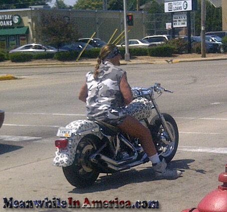 That Awkward Moment When You Realize Bikers Are No Longer Tough   camo cheetah biker meanwhileinamerica