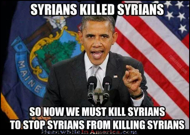 Sounds Legit ...   obama syrians kill syrians so usa kill syrians MeanwhileInAmerica