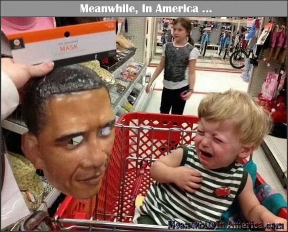 Cue the Racist Card in 3 ... 2 ...   kid crying obama mask shopping cart Meanwhile In America 590x476