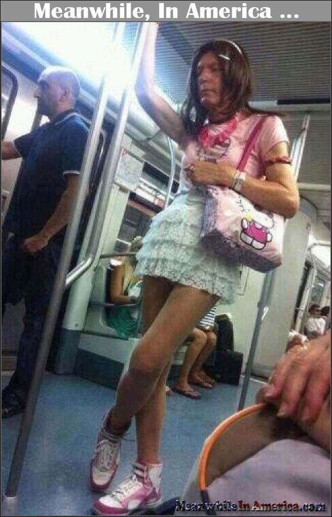 One Step Away From Getting a Remote Controlled Lawnmower   tranny hello kitty subway Meanwhile In America