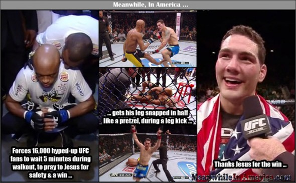 With Jesus as your friend, who needs enemies?   anderson silva chris weidman broken leg jesus Meanwhile In America 590x365