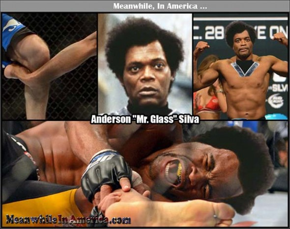 Youd better not be back there jacking off to the Japanese comics, I swear to God...   anderson silva mr glass ufc 168 Meanwhile In America 590x465