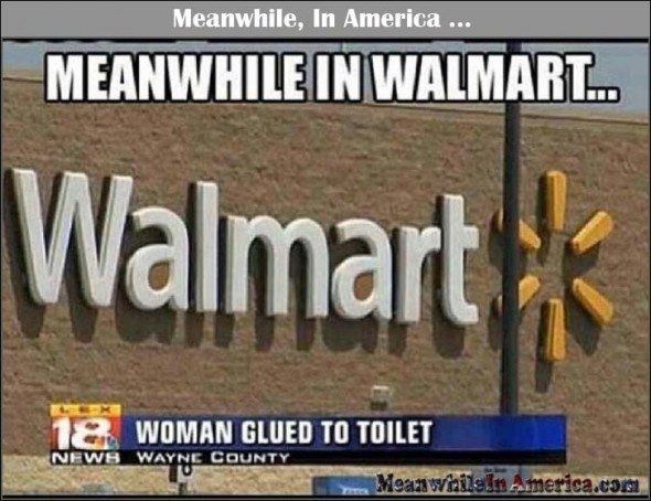 woman glued to toilet walmart Meanwhile In America