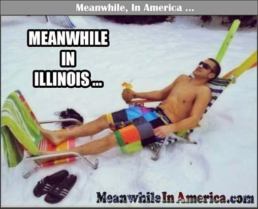 frozen illinois tundra sunbathing Meanwhile In America