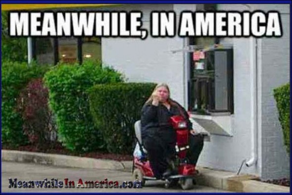 Upload THIS to Facebook, Instagram and Twitter, bitch!   fat lazy slob hoverround drive thru Meanwhile In America 590x394