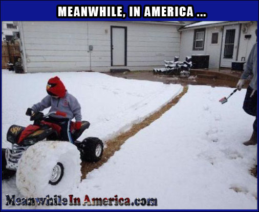 Easiest Way to Get the Kids to Plow the Snow   snow Meanwhile In America 7