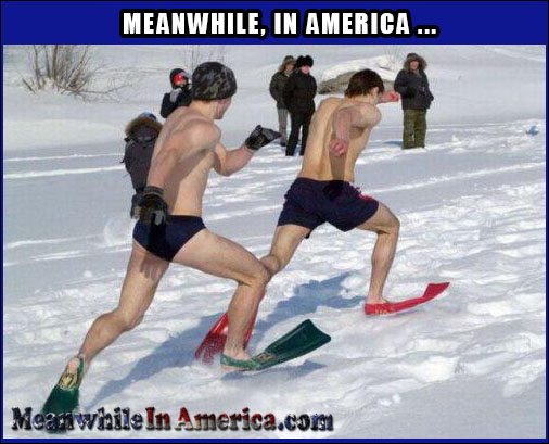 Because Running In Snow Barefoot Isnt Hard Enough   snow Meanwhile In America 70