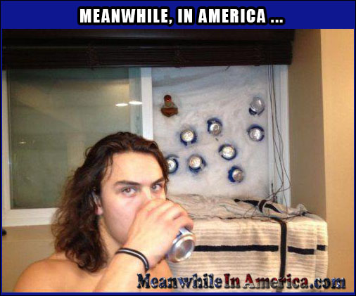 Well, what would YOU do?   window beer refridgerator snow Meanwhile In America