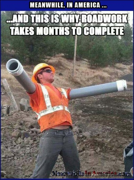 Aha!   Road Construction Worker Goofing Around Meanwhile In America 441x590