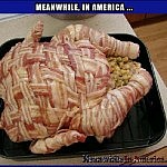 In Murica, Even the Dogs Love Their Food   bacon wrapped whole turkey meanwhile in america 150x150c