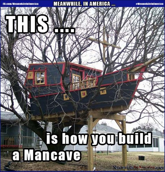 Best Mancave Ever?   Boat Treehouse Mancave Meanwhile In America 566x590