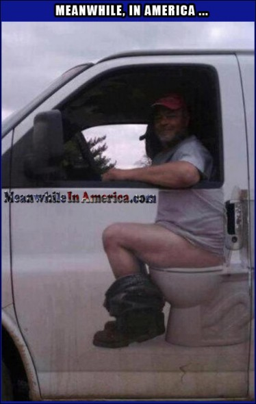 Just Shitting Around at a Traffic Light   Funny Toilet Van Meanwhile In America 374x590