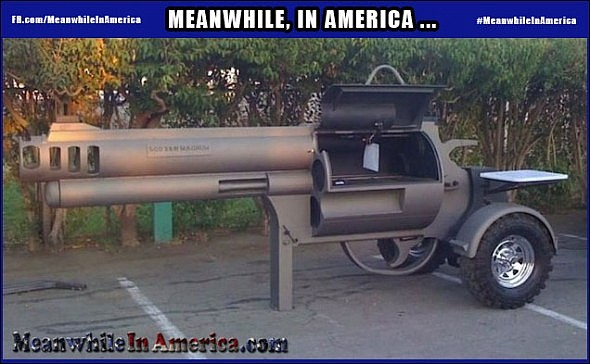 You Want Cheese on that Bullet?   GunGrill Meanwhile In America 590x364
