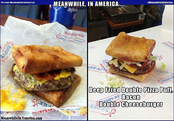 yummy delicious looking double pizza puff bacon cheese burger Meanwhile In America