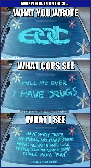 EDC EDM Cops vs. EDC Car Window Meanwhile In America