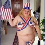 Ladies ... Put Down That Cheesecake, & Slowly Back Away ...   fat girl patriotic bikini Meanwhile In America 150x150c