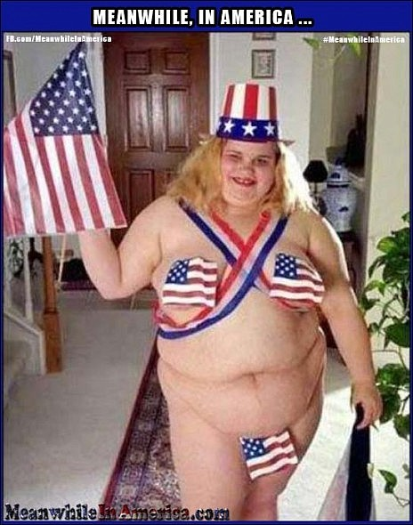 fat girl patriotic bikini Meanwhile In America