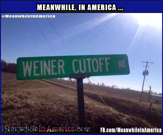 YOU Go Down That Road, Well Take a Detour.   weiner cutoff road sign Meanwhile In America