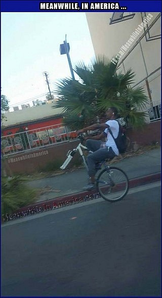 And Whats YOUR Excuse for Not Exercising? ;)   Meanwhile In America Black Guy One Wheel Bike 320x590