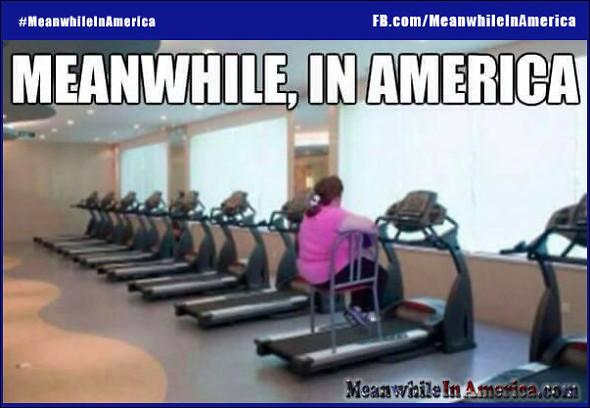 Meanwhile In America lazy fat chick chair on treadmill